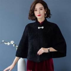 披肩优雅时尚妈妈款2020冬新款外搭宽松斗篷蝙蝠衫纯色均码短外套