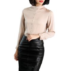 促销 立领长袖衬衫女真丝上衣修身打底女士衬衣408003-原价399现279元