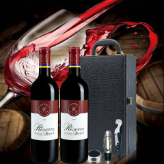 法国原瓶进口拉菲罗斯柴尔德珍藏波尔多干红葡萄酒双支礼盒装