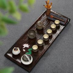 金镶玉 功夫茶具套装 一枝独秀套组 檀木实木茶盘陶茶具整套