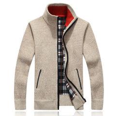 秋冬新款立领撞色男士毛衣 开衫加厚加绒针织衫青年休闲线衣8002