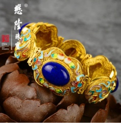 懋隆S925银镀金花丝镶嵌福寿烧蓝青金石手链