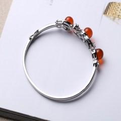 琳福珠宝   S925银质镶嵌琥珀 女式手镯饰品