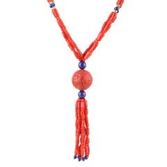 俏丽红珊瑚吉祥如意龙珠独供组