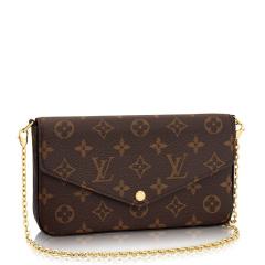 Louis Vuitton/路易威登 女士帆布/配皮深棕色老花Felicie 大号 单肩包/斜挎包