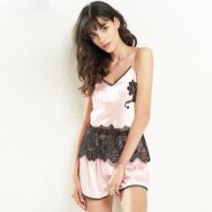 维多拉斯夏季新款仿真丝性感蕾丝舒适吊带短裤套装睡衣家居服9065