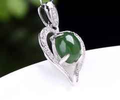 琳福珠宝 心心相印 S925银镶天然和田碧玉心形吊坠和田玉项链