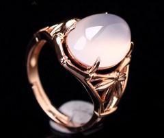 琳福珠宝  925银镀玫瑰金镶玉髓戒指