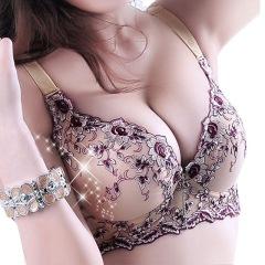 2021新品来袭刺绣无钢圈小胸聚拢收副乳调整型内衣加厚薄款大码文胸性感胸罩M15