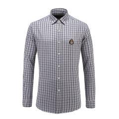 男士长袖翻领细格纹修身商务休闲衬衫 23635114