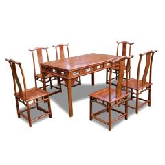 世锦豪庭刺猬紫檀餐桌七件套