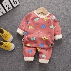儿童加厚保暖长袖 可爱卡通印花秋衣秋裤 秋冬新款儿童家居服