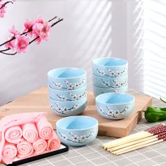 鼎匠樱花浮雕陶瓷手绘碗8碗8筷8洗碗巾套装简约瓷器碗筷套装家用日用米饭碗