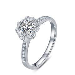 芭法娜 优雅绽放 0.4ct/1粒 E色 VS2 18K金钻石戒指 GIA证书