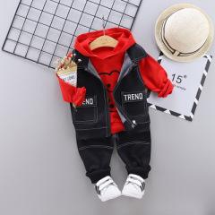 菲儿小屋    2020春季中小童套装新款 双口袋小熊休闲马甲连帽三件套