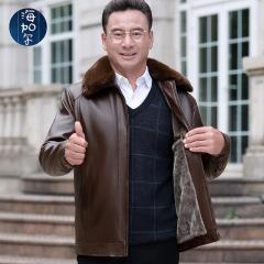 卫视航天绒同款中老年保暖皮衣男翻领毛领可拆卸加绒加厚皮夹克M17