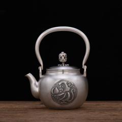 中艺盛嘉孟德仁灵猴献寿银壶商务礼品养生煮茶壶烧水壶纯手工铜壶