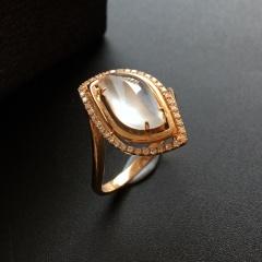 (超值推荐)冰种无色镶玫瑰金钻石随形戒指