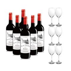 法国进口红酒兰德公爵波尔多干红六支赠六个红酒杯套装