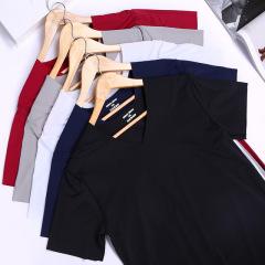 男士冰丝纯色短袖t恤V领无痕简约修身半袖打底衫薄款夏