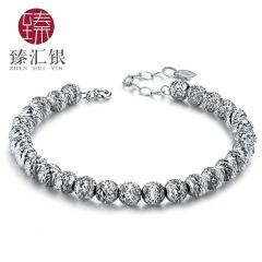 臻汇银 S925交叉珠转运珠男女情侣手链