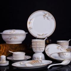 景德镇原产地 56头骨瓷套装餐具瓷器外贸出口 婚嫁乔迁馈赠之礼 健康环保礼盒装