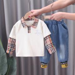2021儿童春季新款韩版假两件衬衫领长袖卫衣休闲牛仔裤二件套潮装