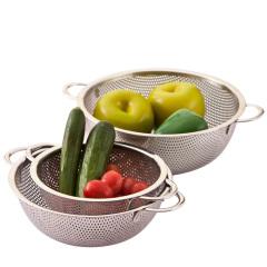SIMELO 施美乐果蔬多用冲孔篮 三件套 不锈钢加厚厨房工具