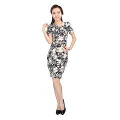 J.K短袖收褶连身裙 货号109396