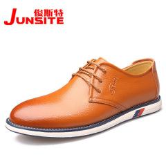 俊斯特春季新款男士休闲鞋平底前系带男鞋真皮单鞋男皮鞋