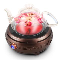 欧博(OPO)DT-03 电陶炉烧水壶套装带耐高温玻璃壶咖啡色
