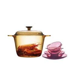 美国康宁晶彩透明锅3.5升+紫色耐热餐具6件组  VS35+CWP6·琥珀色
