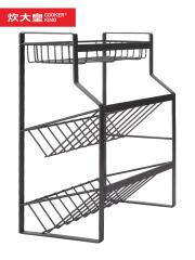 炊大皇 厨房收纳架 调料架子厨房置物架 厨房家用三层调味架