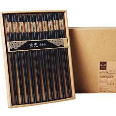 张小泉金筷合金筷子金属压花创意套装日式筷十双礼品装包邮