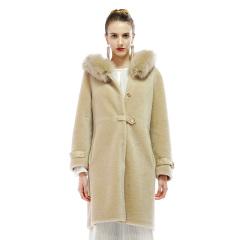 恺瑞伯爵夫人狐狸毛领羊毛大衣
