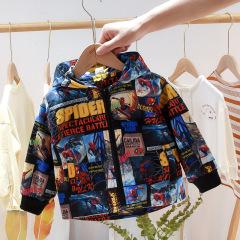 菲儿小屋 男童套漫威蜘蛛侠系列夹克连帽运动服上衣洋气小童1-5岁