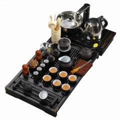 金镶玉 功夫茶具套装 禅茶一味紫砂白瓷 实木茶盘陶瓷茶具电磁炉整套