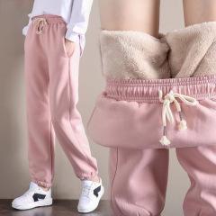 秋冬加绒加厚羊羔绒裤子女学生韩版哈伦裤运动卫裤子女
