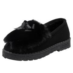 新款冬季保暖加绒毛毛鞋平底女鞋韩版百搭一脚蹬棉鞋