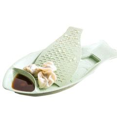饺子盘鱼型餐盘 创意餐具沥水带醋碟水饺盘
