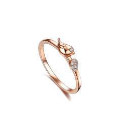 芭法娜 爱情小鸟 S925银玫瑰金色时尚戒指