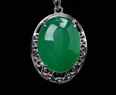 琳福珠宝  S925纯银镶蛋面绿玉髓吊坠项链