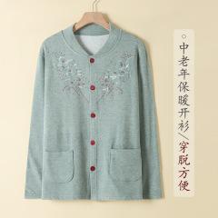 中老年人女士棉质加厚对襟开衫大码老人保暖上衣妈妈秋衣宽松内衣M10