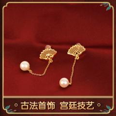 中艺盛嘉花丝镶嵌扇型耳坠送礼嘉物
