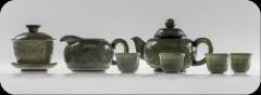 痕都斯坦工艺、古法再现、薄胎、玉雕大师手工雕刻《青玉茶具一套》