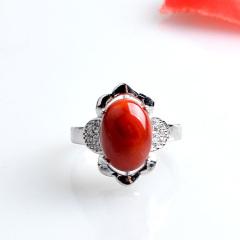宝腾钰坊 南红玛瑙925银镶嵌戒指