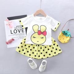 菲儿小屋 韩版2020夏季新品0-4岁宝宝女童兔子圆点短袖两件套