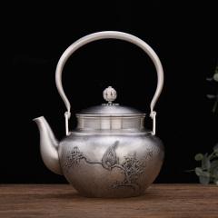 中艺盛嘉孟德仁春风得意银壶壶礼品养生煮茶壶烧水壶纯手工银壶