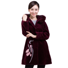 今升时尚印花狐狸毛领羊毛大衣  货号121271