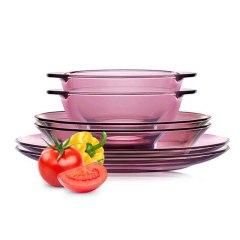 美国 康宁餐具Corningware紫色耐热玻璃碗碟盘套装 6件套-CWP6